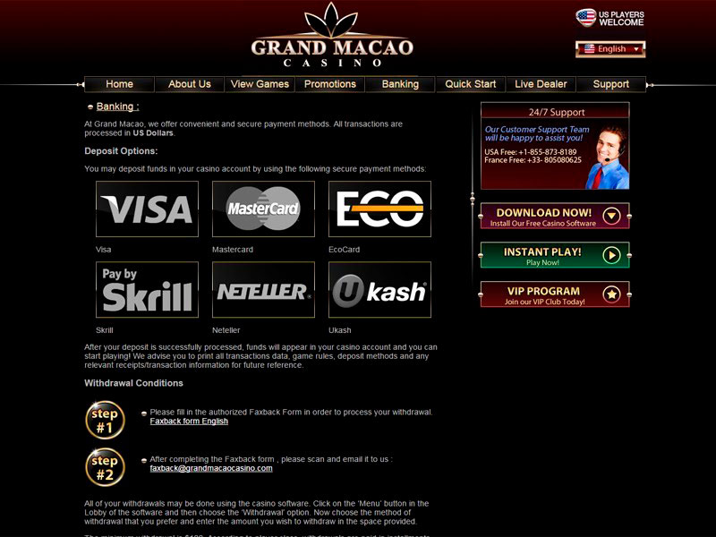Grand Macao Online Casino in United States